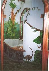 Bathroom with hand-painted murals
