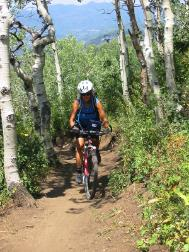 Mary on single-track trail at Steamboat