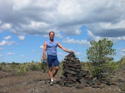 Mark by lava cairn, not a stud pile